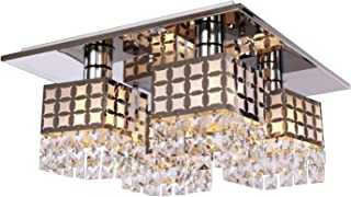 Lightess Square Chandeliers Modern Crystal Flush Mount Ceiling Light Fixture Stainless Steel with 4 Lights