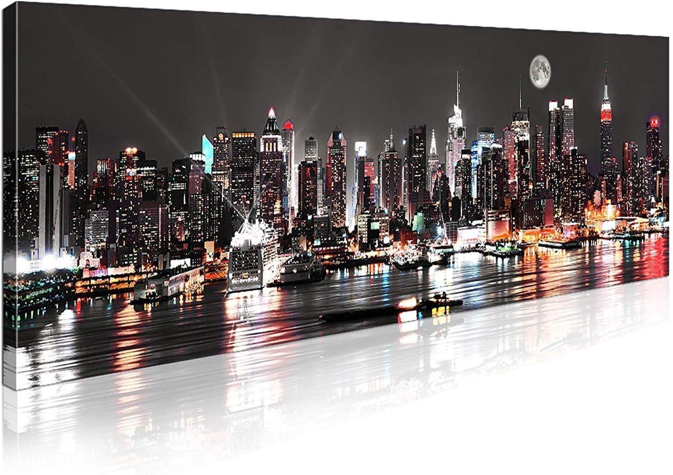 Canvas Picture Wall Art hmburg Storage City Lights Night