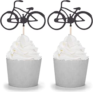 24 Black Glitter Bike Cupcake Toppers Cycling Theme Party Kid's Birthday Decorations