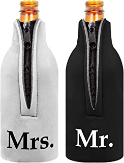 Bridal Shower Gift Bottle Coolie Mr. and Mrs. 2 Pack Bottle Drink Coolers Coolies BlackWhite