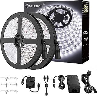 Onforu 66ft Dimmable LED Strip Lights Kit UL Listed Power Supply 6000K Daylight White 20m 1200 Units SMD 2835 LEDs 12V LED...
