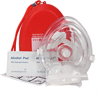 Ever Ready First Aid CPR Rescue Mask, Adult/Child Pocket Resuscitator, Hard Case with Wrist Strap + Gloves and Wipes