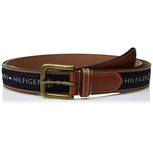 595b4577370e Tommy Hilfiger Men s Ribbon Inlay Belt - Ribbon Fabric Design with Single  Prong Buckle