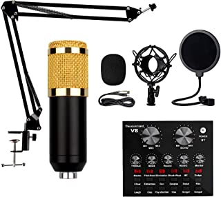 Sound Card Microphone Set, Multifunctional Live Sound Card, Live Broadcast Metal Microphone Set Adjustable Bracket 12 Back...