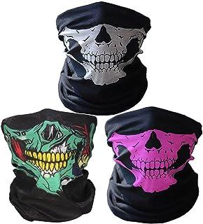 3 x Premium multifunción Bandana | Braga | | paño de manguera | Pañuelo con calavera de esqueleto Máscaras para moto bicicleta Esquí Paintball Gamer Carnaval Disfraz Calavera Máscara …
