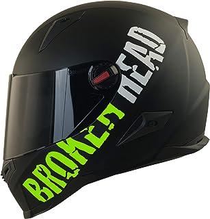 Broken Head BeProud Matt-Schwarz & Grün - Motorradhelm Mit Schwarzem Zusatz-Visier - Größe S 55-56 cm