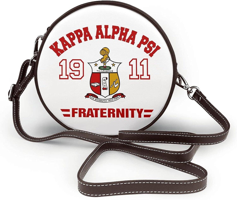 Positive Motion Engaged Kappa 1911 KAP Alpha Psi PU Leather Round Crossbody Wallet Purse Handbag Messenger Shoulder Bag