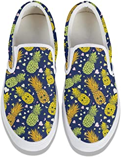 Love Happy Pineapple Faces & Heart Shape Men's Canvas Shoes Retro Lightweight Work Shoes Slip on Sneakers