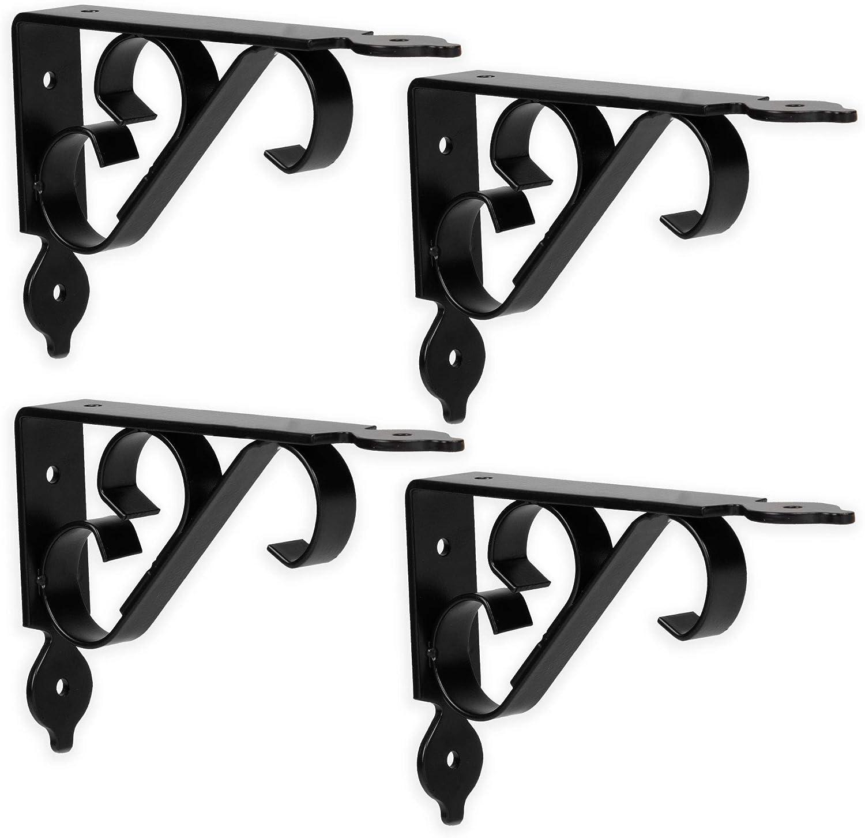 4 Pack 4x6 Inch Decorative Metal Corner Brace Support for Wall Mount Shelves Heavy Duty Floating Shelf Brackets