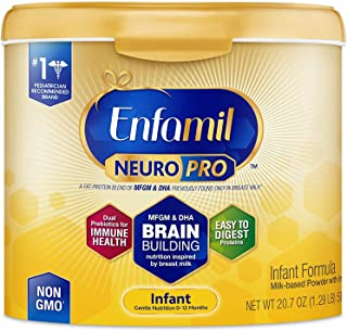 Enfamil NeuroPro Infant Formula - Brain Building Nutrition Inspired by Breast Milk - Reusable Powder Tub, 20.7 oz (Pack of 4)