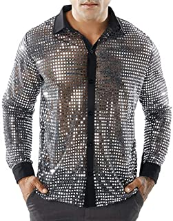 WSPLYSPJY Men's Hipster Long Sleeve Gold Dress Shirts Mesh Sequin Clubwear Casual Shirts