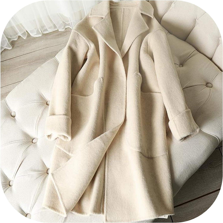 Wool coat women coat dress green wool long coat long jacket plus size coat Y0018 High collar coat warm coat Cashmere winter coat