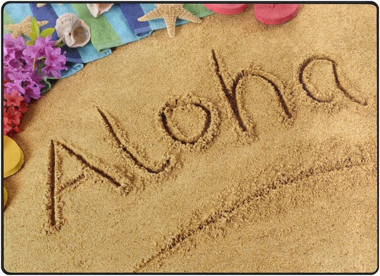 SUABO 80 x 58 inches Area Rug Non-Slip Floor Mat Aloha with Sand Printed Doormats for Living Room Bedroom