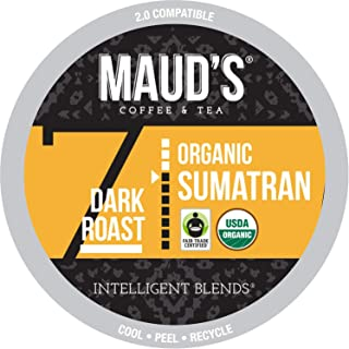 Maud's Organic Sumatran Coffee (Dark Roast), 24ct. Recyclable Single Serve Fair-Trade Organic Single Origin Coffee Pods