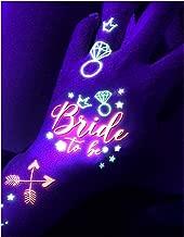d'IRIS studio Bachelorette Temporary Tattoos Glow in Dark Rave Party Neon Night Tattoo Blacklight Bride Gifts Tribe Bridal Supplies Favors Decoration Bridesmaid Accessories Nightclub Team Crew Tats