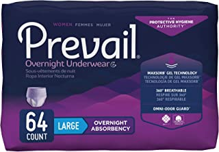Prevail Overnight Absorbency Incontinence Underwear for Women, Large, 64 Count (Packaging May Vary)