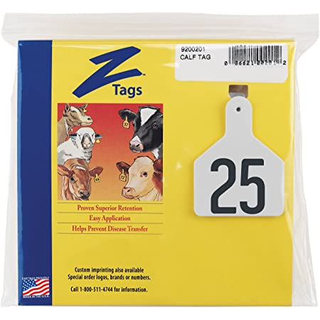 Z Tags 100 Count 1-Piece Blank Tags for Calves White