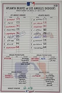 July 31, 2014 Atlanta Braves Dodgers Line-up Card Mattingly Auto Clayton Kershaw