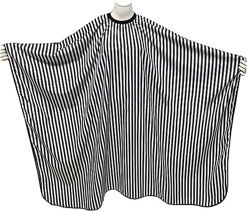 SUNTATOP Cape de Cheveux, Robe de Coupe de Cheveux de Salon Tissu de Capes de Coiffeur (Rayures noires et blanches)