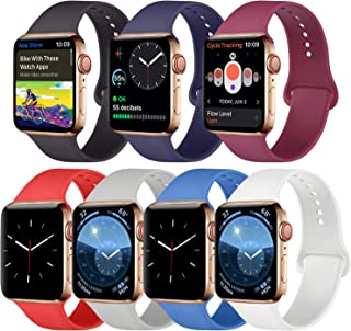 Amzpas [Pack 7] Compatible with Apple Watch Band 38mm 40mm 42mm 44mm, Silicone Strap Sport Band Compatible with iWatch Series 5/4/3/2/1