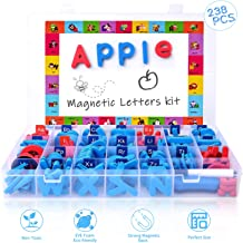 Magnetic Letters Kit, Classroom Magnets 238 Pcs with Large Double-Side Magnet Board and Storage Box, Foam Alphabet ABC Magnets Toy Set for Preschool Kids Learning Spelling - Classroom & Home Education