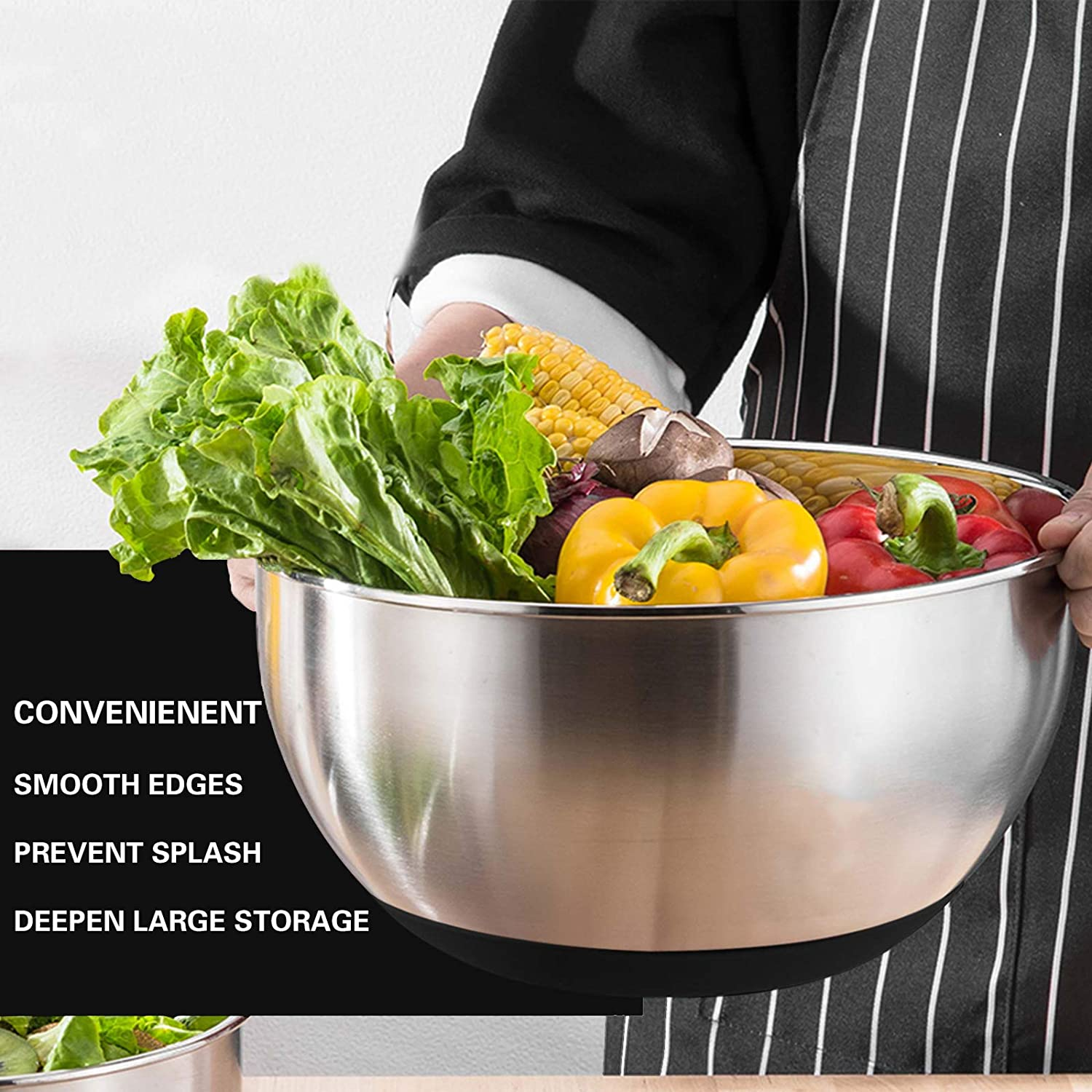 Mixing Bowls with Airtight Lids, 20 piece Stainless Steel Metal Nesting Bowls, AIKKIL Non-Slip Silicone Bottom, Size 7, 3.5, 2.5, 2.0,1.5, 1,0.67QT Great for Mixing, Baking, Serving (Black)