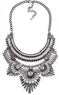 Thkmeet Vintage Gypsy Bohemian Ethnic Tribal Boho Statement Pendant Necklace,Owl Style