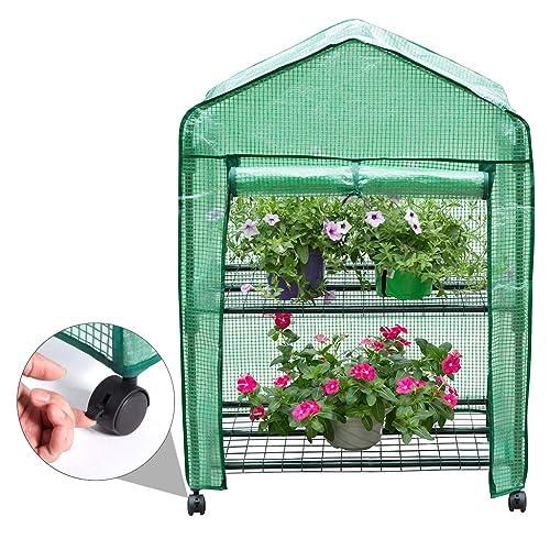 Finether-Invernadero Portátil de 2 Estantes con Ruedas y Tapa Transparente, Ideal para Jardín