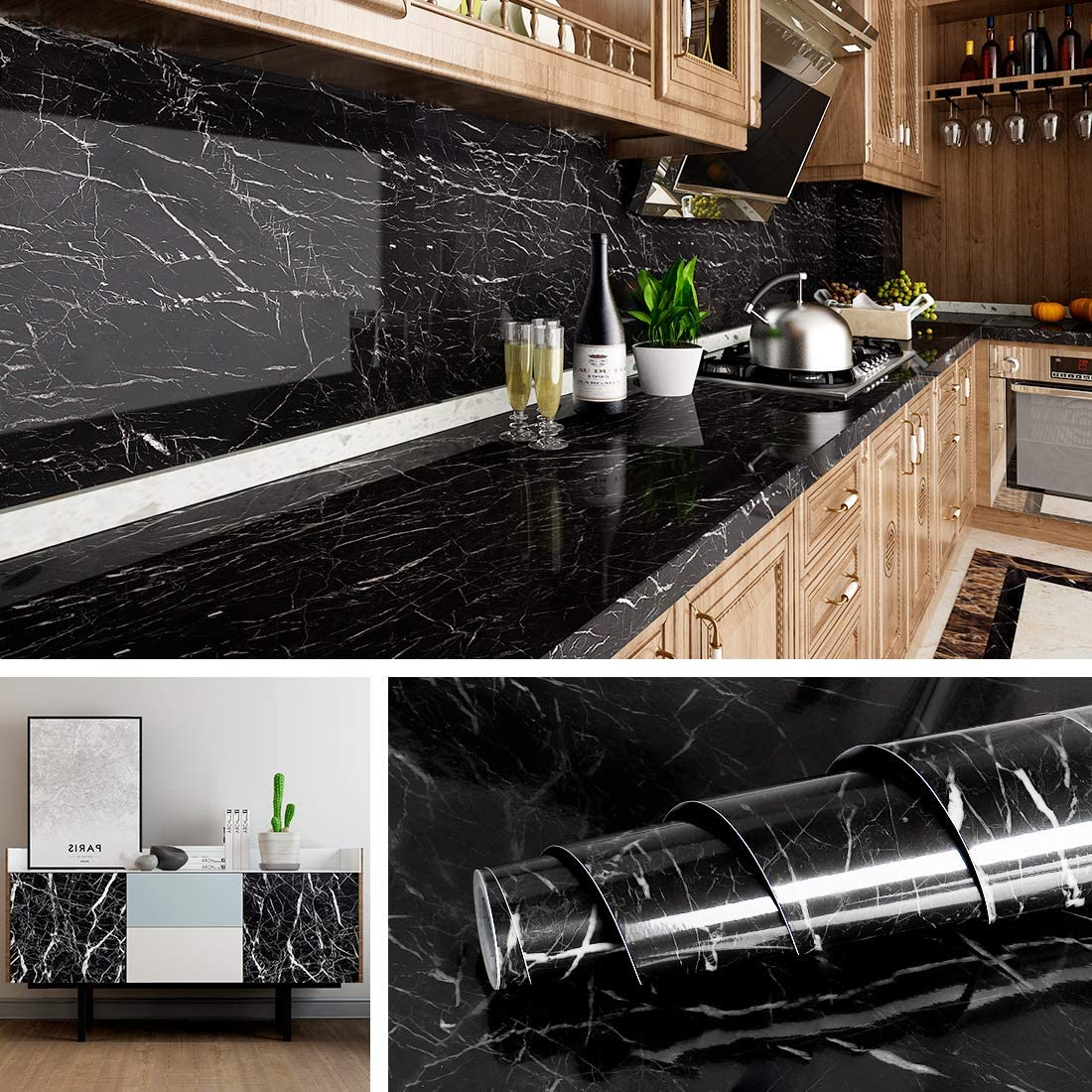 Livelynine Black Marble Wall Paper for Kitchen Counter Top Covers Peel and  Stick Wallpaper Bathroom Granite Contact Paper for Countertops Desk Table  ...