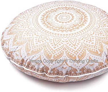 THRIVING Peacock Mandala Large Mandala Floor Pillow Cover Meditation Cushion Seating Throw Hippie Round Colorful Decorative B