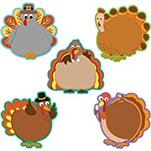 40 Pieces Turkey Cut-Outs Versatile Classroom Decoration Creative Turkey Cut-Outs for Bulletin Board Classroom School Fall Theme Thanksgiving Party, 5.9 x 5.9 Inch