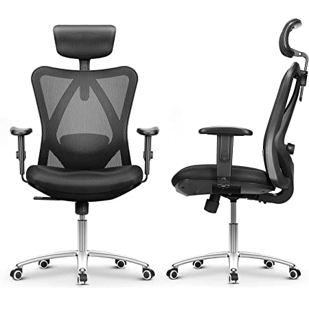 mfavour Ergonomic Office Chair Desk Chair Computer Chair with Adjustable Lumbar Support and Headrest, Swivel Executive Mesh Office Chair with Wheels, Home Breathable Office Chair with back support