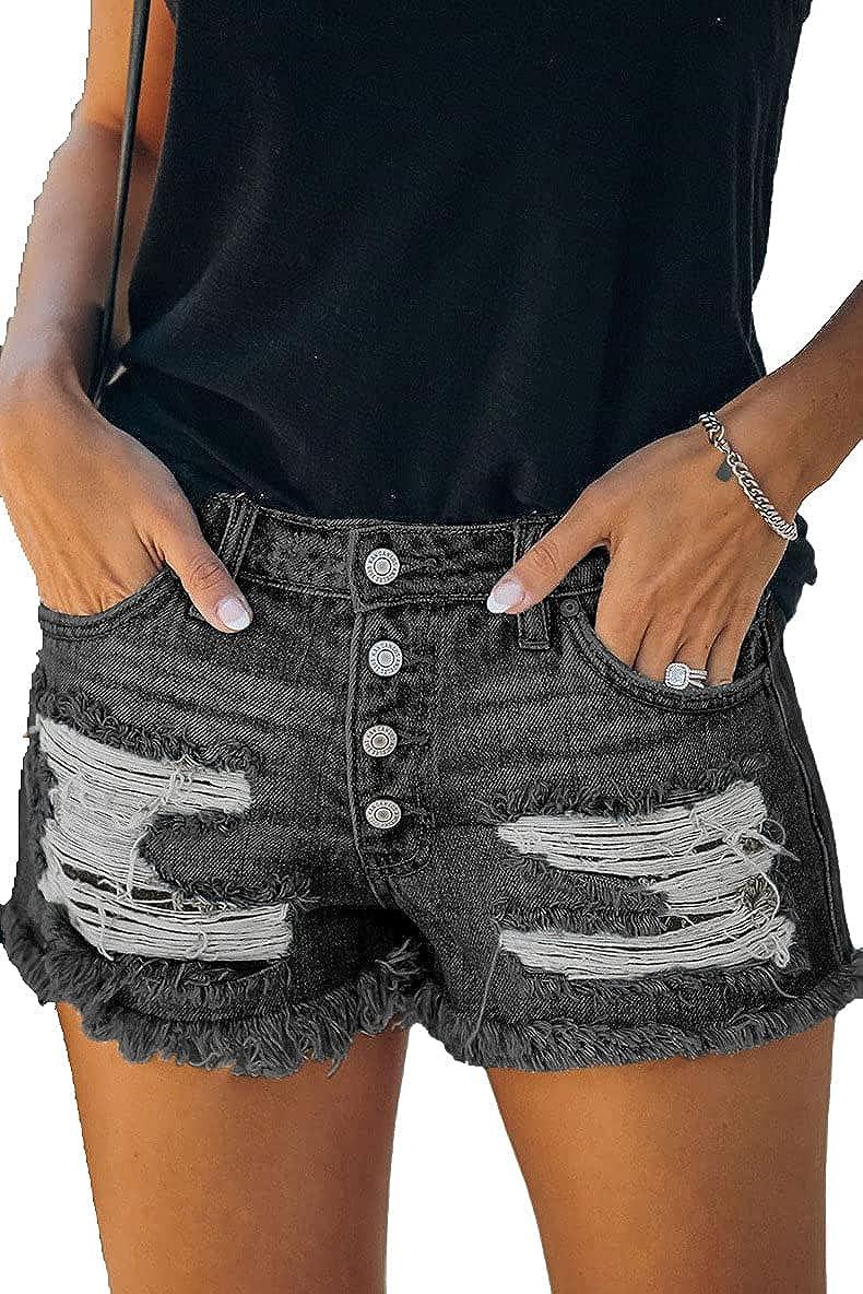 Meren Women's Denim Shorts Stretchy Frayed Raw Hem Distressed Jeans Shorts Summer Hot Pants