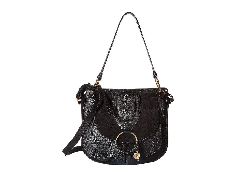 See by Chloe Hana Suede Leather Tote (Black) Tote Handbags