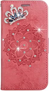 Galaxy 2016 Case  SONWO Leather Flip Wallet Phone Case  Mandala Embossing Bling Crystal Diamond Cover with Card Slots and Kickstand for Samsung Galaxy 2016  Red