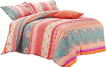 Bohemian Quilt Cover Set - by Wake In Cloud, Orange Coral Boho Chic Mandala Pattern Printed, Soft Microfibre Doona Cover B...
