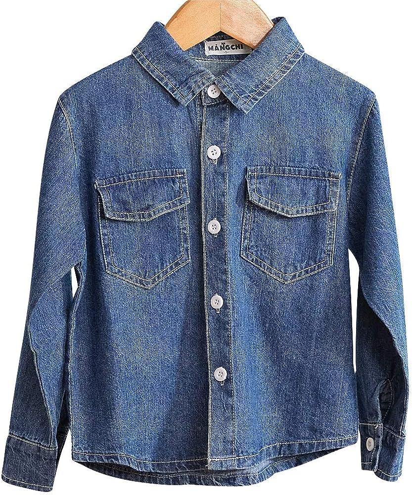 MANGCHI-Kids Toddler Little Boys Clothes Denim Shirt Long Sleeve Solid Button-Down Blue