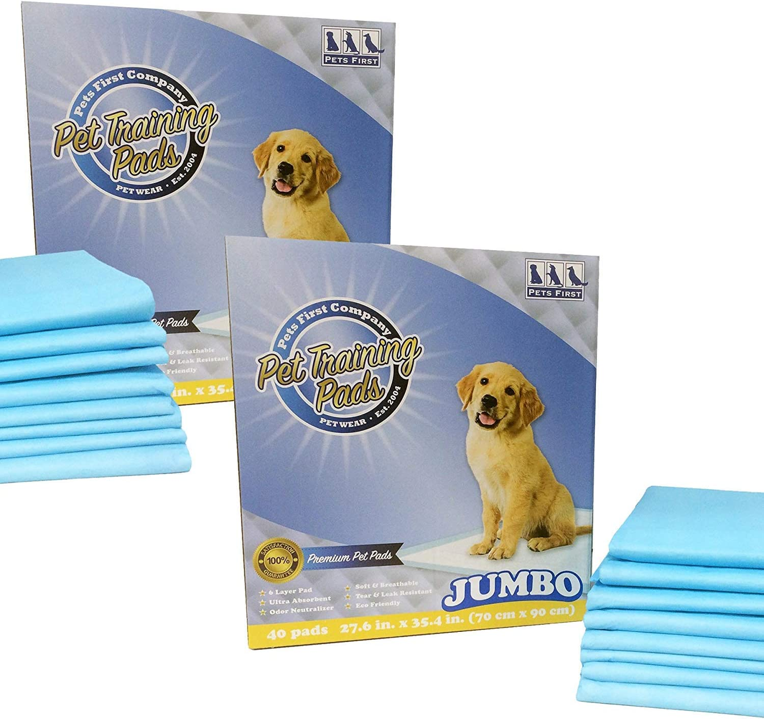 Pets First TP-7080 PREMIUM Charlotte Mall JUMBO Newest Count 80 TRAINING PADS Popular brand in the world
