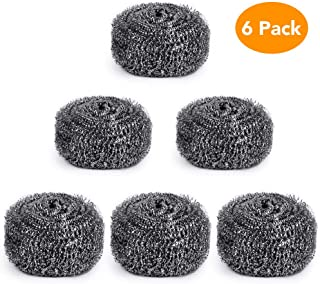 Nurkeen Steel Wool Scrubber, Metal Scrubber Used for Dishes, Pots, Pans, Ovens Etc, Durable Steel Wool Set of 6, Stainless Steel Scrubber, Multi-Purpose Scouring Pad for Kitchen Cleaning