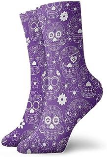 yting, Niños Niñas Locos Divertidos Calcetines de calaveras de azúcar florales púrpuras Calcetines lindos de vestir