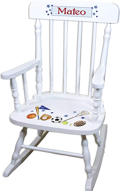 Children S Personalized White Sports Rocking Chair
