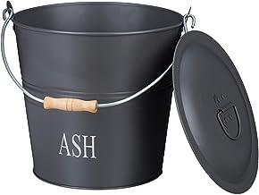 Relaxdays Asemmer met deksel, 12 liter, houtskool & as, ronde asbak met handgreep, open haard, oven & grill, grijs