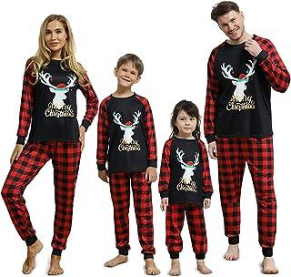 ZZCP Conjunto de Pijamas Navideñas Familiares, Pijamas Familiares de Manga Larga, Top con Estampado de Alces y Pantalón de...