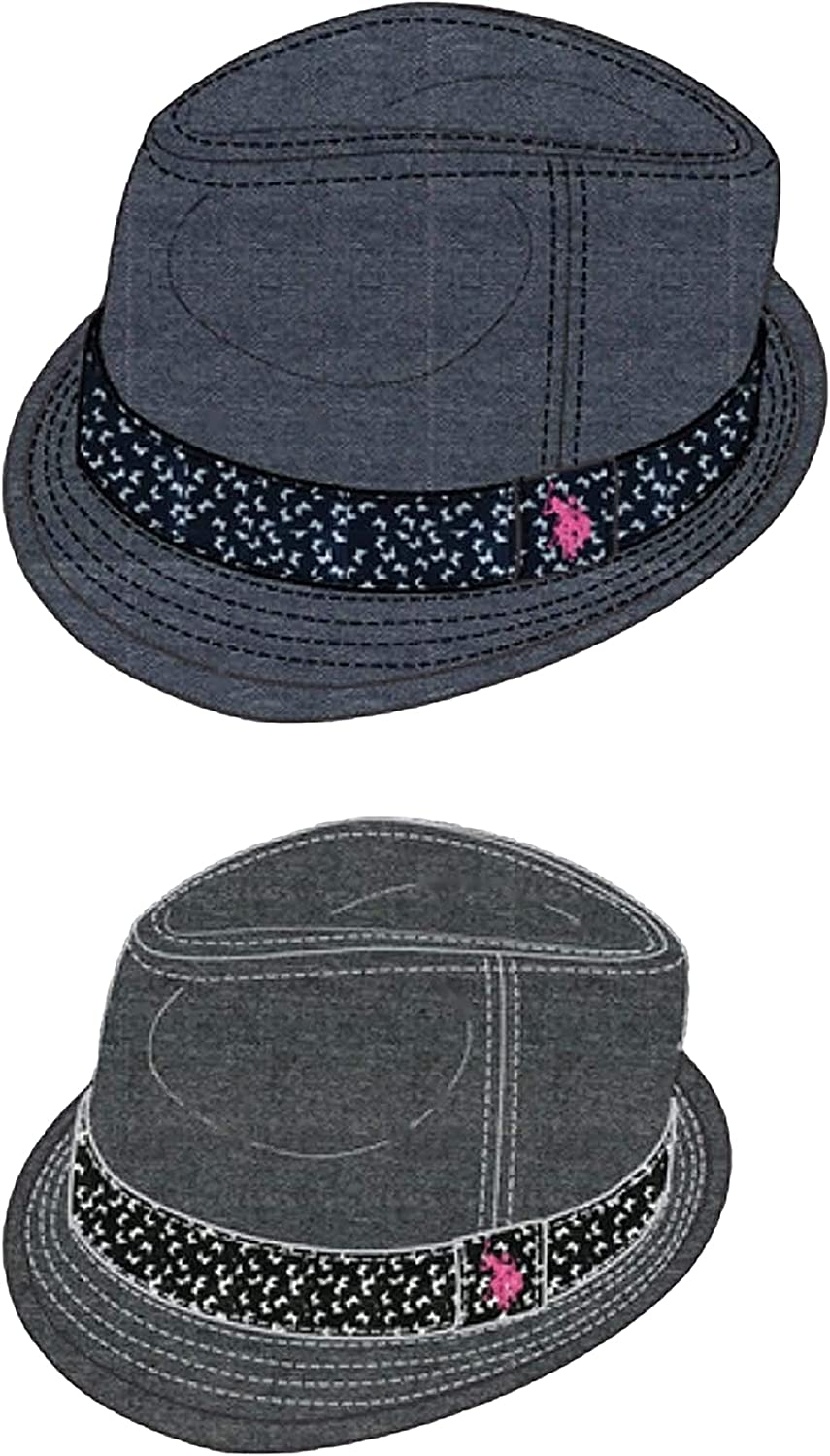 Concept One U.s. Polo Association Women's Chambray Fedora with Butterfly Print Hatband