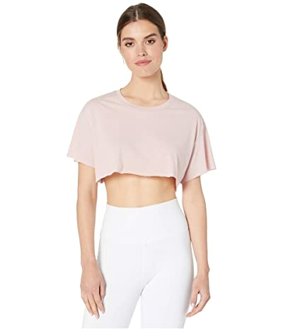 ALO Cropped Short Sleeve Top (Pale Mauve) Women