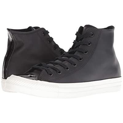 Converse Chuck Taylor All Star Leather Hi (Black/Black/Vintage White) Lace up casual Shoes