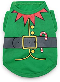 DroolingDog Pet Dog Christmas T Shirt Funny Costume for Small Dogs Green XS