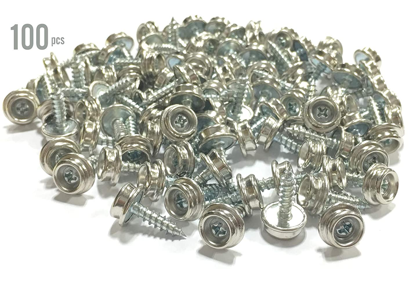 ALAZCO Set of 100 Snap Button Screw-in Studs Boat Canvas Snaps Winter Covers Canopies Tarps - All Phillips Head - Premium Quality Made in Taiwan ebdtjncsipy784