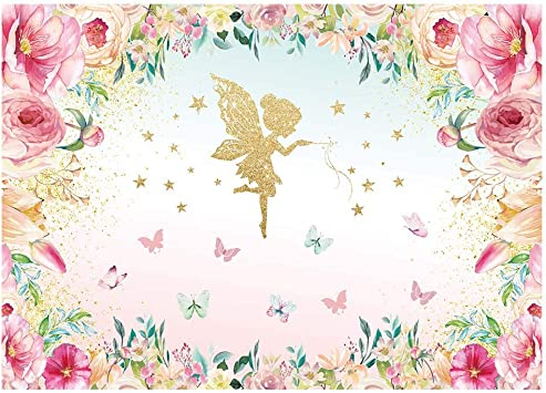 9x6ft Happy Birthday Backdrop Vinyl Pink Flowers Photography Background Golden Elf Colorful Butterfly Kids Baby Girl Birthday Party Backdrop Photo Studio Props