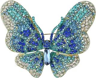 EVER FAITH Women's Austrian Crystal Butterfly Brooch